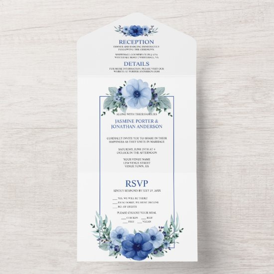 Navy Blue, Light Blue Anemone Floral    All In One Invitation
