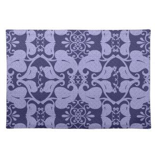 Navy Blue Light Blue Modern Elegant Leaf Pattern Placemat
