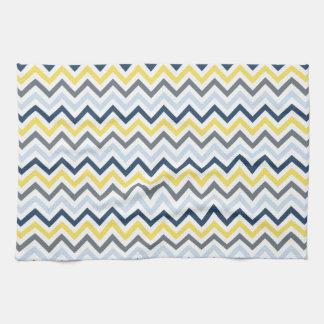 Navy Blue, Light Blue, Yellow, And Gray Chevron Hand Towel