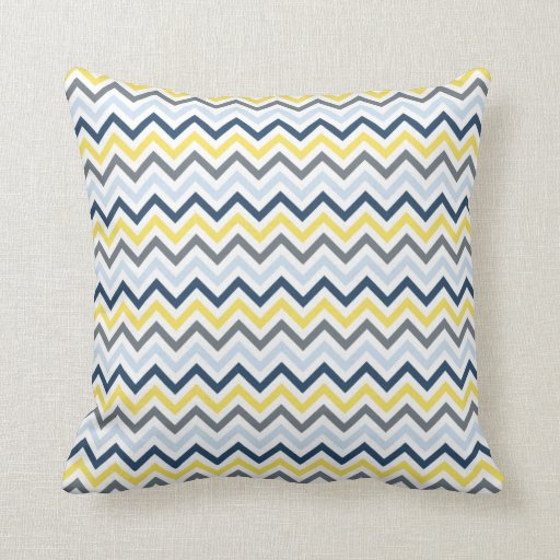 Navy Blue, Light Blue, Yellow, and Gray Chevron Throw Pillow