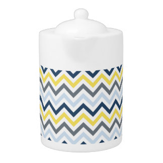 Navy Blue, Light Blue, Yellow, and Gray Chevron Teapot