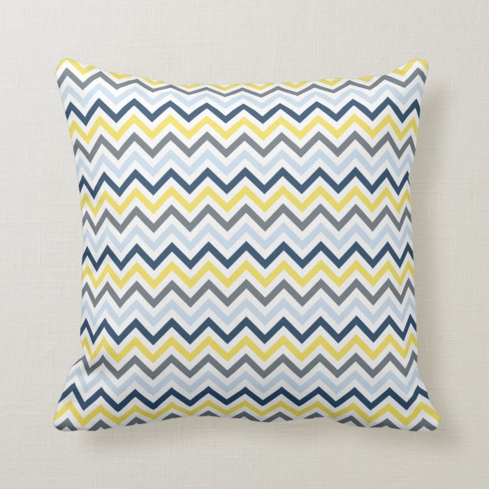 Navy Blue, Light Blue, Yellow, and Gray Chevron Throw Pillow Zazzle