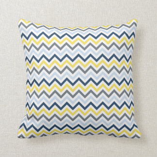 Navy Blue, Light Blue, Yellow, and Gray Chevron Throw Pillow
