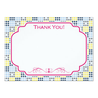 """Navy Blue, Light Blue, Yellow, and Gray Squares 4.5"""" X 6.25"""" Invitation Card"""