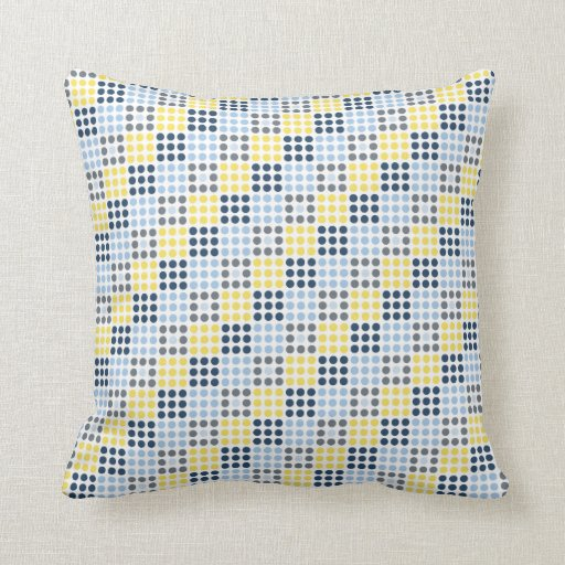 Yellow And Navy Blue Throw Pillows : Navy Blue, Light Blue, Yellow, and Gray Squares Throw Pillow Zazzle