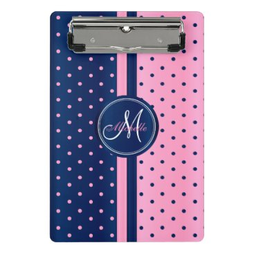 Aztec Themed Navy Blue & Light Pink Polka Dots - Monogram Mini Clipboard