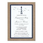 Navy Blue Lighthouse On Burlap Nautical Engagement Card