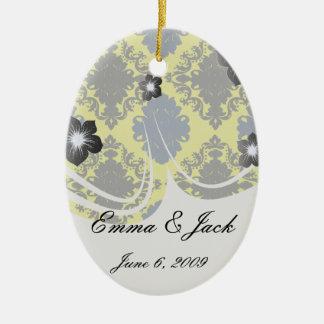 navy blue lime green black diamond damask pattern ceramic ornament