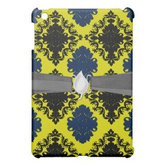 navy blue lime green black diamond damask pern case for the iPad mini