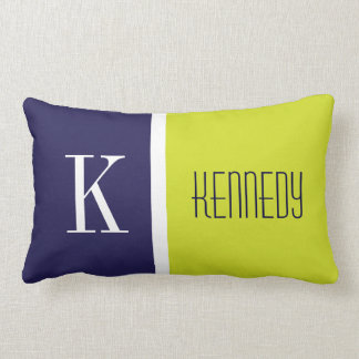 Navy Blue Lime Green Color Block Stripe Monogram Lumbar Pillow