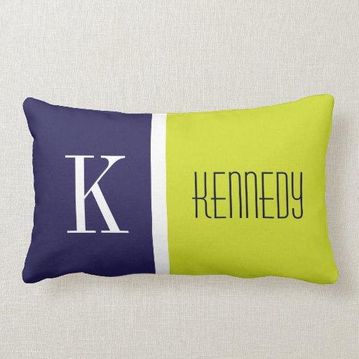 Navy Blue And Green Throw Pillows : Navy Blue Lime Green Color Block Stripe Monogram Throw Pillows Zazzle