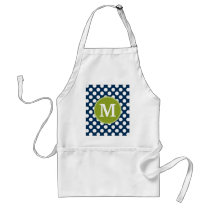 Navy Blue & Lime Green Polka Dots Custom Monogram Adult Apron