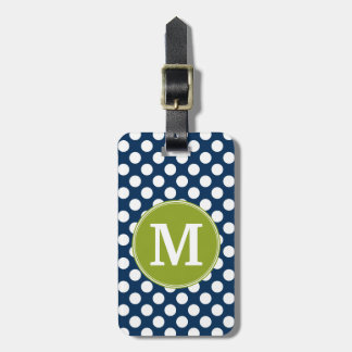 Navy Blue & Lime Green Polka Dots Custom Monogram Bag Tag