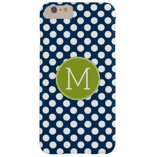Navy Blue & Lime Green Polka Dots Custom Monogram Barely There iPhone 6 Plus Case