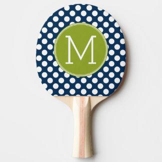 Navy Blue & Lime Green Polka Dots Custom Monogram Ping-Pong Paddle
