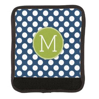 Navy Blue & Lime Green Polka Dots Custom Monogram Luggage Handle Wrap