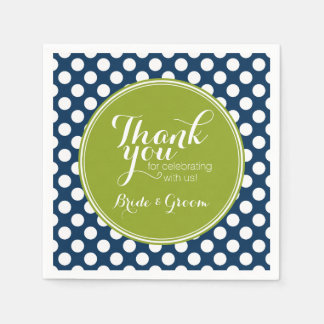 Navy Blue & Lime Green Polka Dots Custom Monogram Napkin
