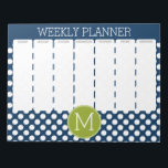 "Navy Blue &amp; Lime Green Polka Dots Custom Monogram Notepad<br><div class=""desc"">A preppy pattern with a classic single monogram. Cute and girly,  this retro design is perfect for any woman.</div>"