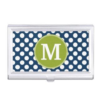 Navy Blue & Lime Green Polka Dots Custom Monogram Business Card Cases