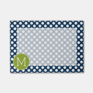 Navy Blue & Lime Green Polka Dots Custom Monogram Post-it Notes