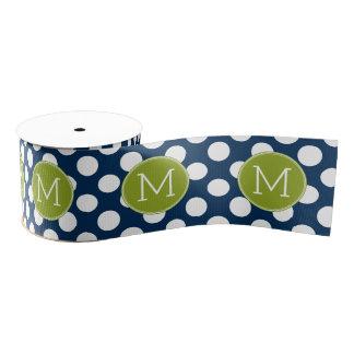 Navy Blue & Lime Green Polka Dots Custom Monogram Grosgrain Ribbon