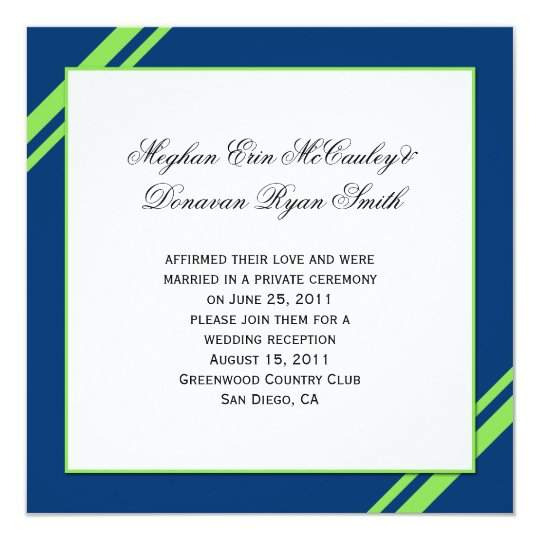 Navy Blue Lime Green Stripes Post Wedding Card