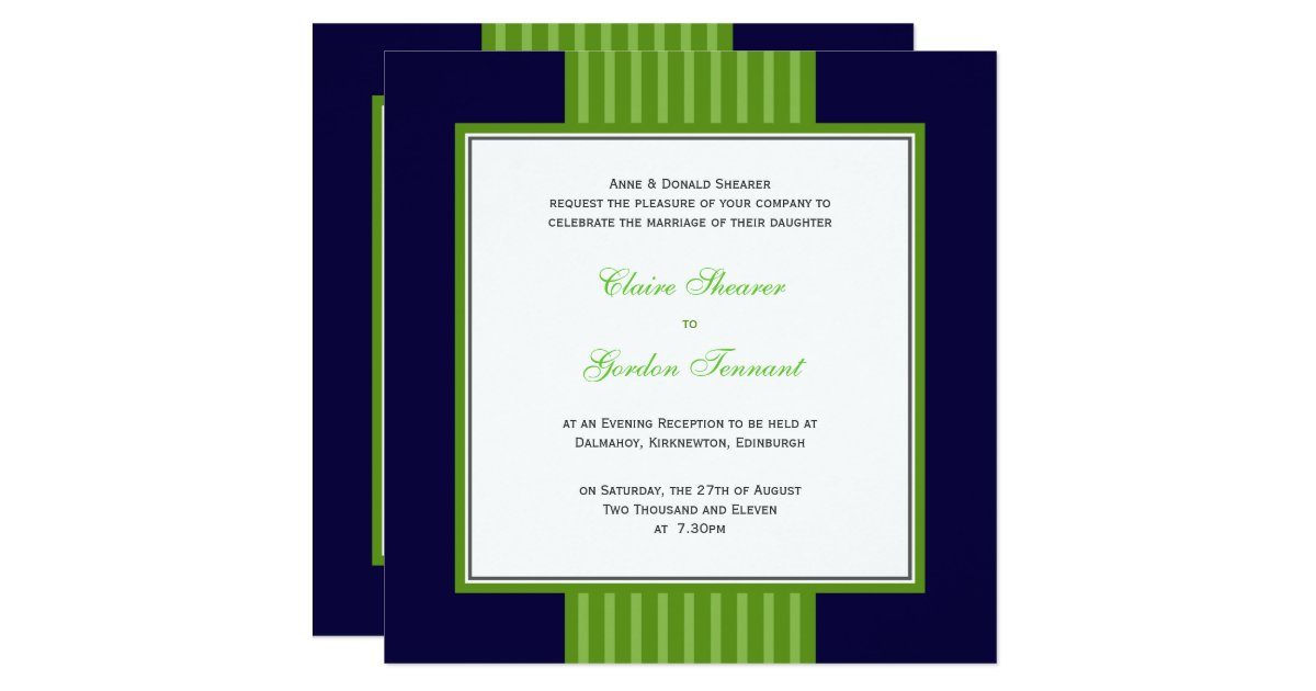 Royal Blue And Lime Green Wedding Invitations: Navy Blue & Lime Green Wedding Invitation