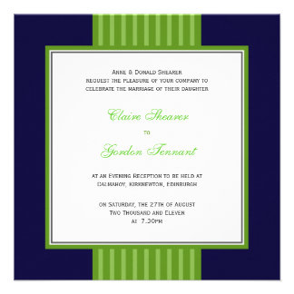 Navy Blue Lime Green Wedding Invitation