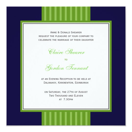 Navy Blue & Lime Green Wedding Invitation