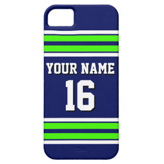 Navy Blue Lime Grn Team Jersey Custom Number Name iPhone SE/5/5s Case