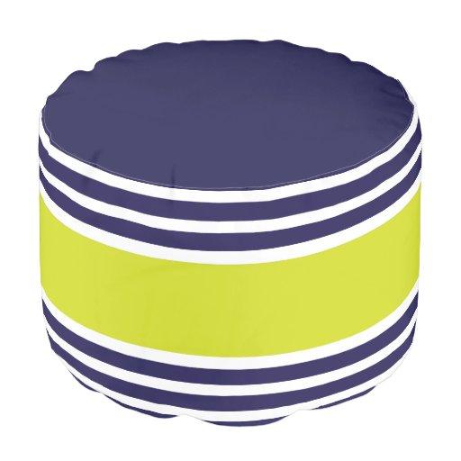 Navy Blue Lime Stripes Geometric Pattern Pouf Zazzle