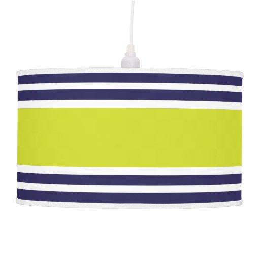 Navy Blue Lime & White Stripe Pattern Hanging Pendant Lamps
