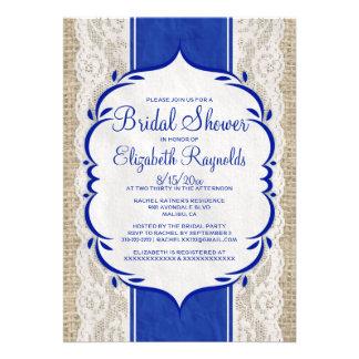 Navy Blue Linen Burlap Lace Bridal Shower Invites Personalized Announcement