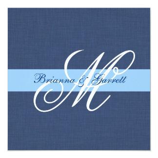 Navy Blue Linen Texture Wedding Monogram Template 5.25x5.25 Square Paper Invitation Card