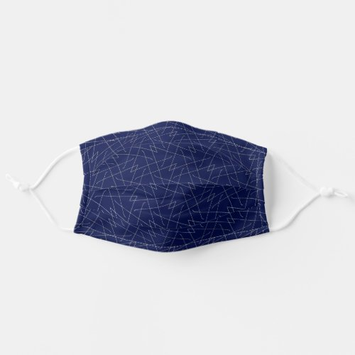 Navy Blue Lines Simple Pattern Abstract Geometric Adult Cloth Face Mask