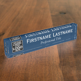 Navy Blue - Logo, Name and Professional Title Desk Name Plate