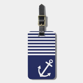Navy Blue Love Anchor Nautical Bag Tag by OrganicSaturation at Zazzle