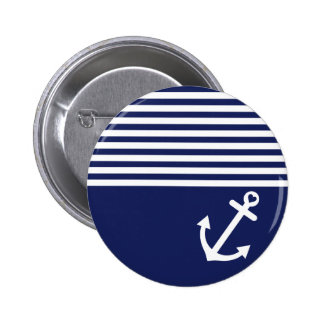Navy Blue Love Anchor Nautical Button