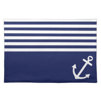 Navy Blue Love Anchor Nautical Cloth Placemat