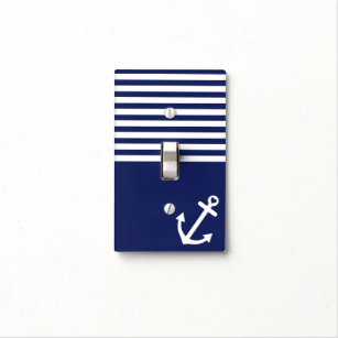Navy Blue Love Anchor Nautical Light Switch Cover