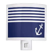 Navy Blue Love Anchor Nautical Night Light