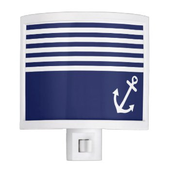 Navy Blue Love Anchor Nautical Night Light by OrganicSaturation at Zazzle