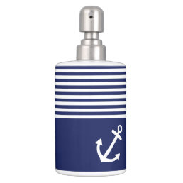 Navy Blue Love Anchor Nautical Soap Dispenser And Toothbrush Holder