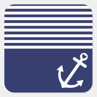 Navy Blue Love Anchor Nautical Square Sticker