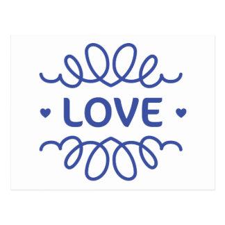 Navy Blue Love Hearts Blank Greeting Postcard
