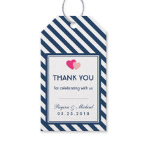 Navy Blue Love Stripes Pattern Wedding Gift Tag