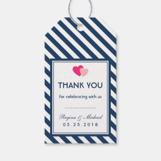 Navy Blue Love Stripes Pattern Wedding Gift Tag Pack Of Gift Tags