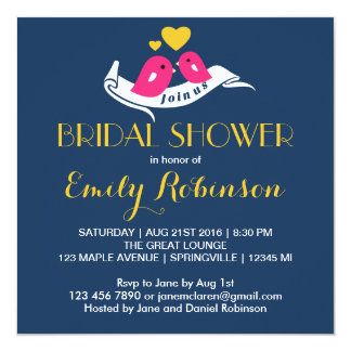 Navy Blue Lovebirds Bridal Shower Invitation