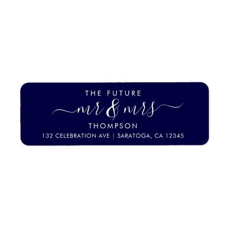 Navy Blue Luxury Elegant Future MR and MRS Address Label