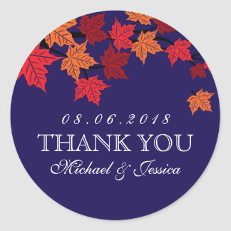 Navy Blue Maple Leaf Fall Autumn Wedding Sticker